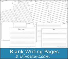 Free Blank Writing Page Printable - 3Dinosaurs.com