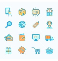 Shopping e-commerce icons set flat line vector - by macrovector on VectorStock®