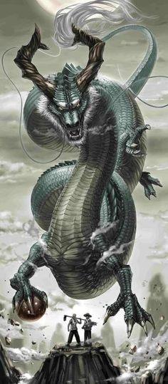 Shiry u, Dohko the Dragon Magical Creatures, Fantasy Creatures, Cool Dragons, Dragon Artwork, Dragon Pictures, Green Dragon, Koi Dragon, Japanese Dragon, Chinese Dragon Drawing