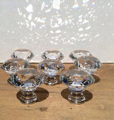 8 Vintage Inspired Crystal Glass Diamond by LakeMichiganVintage Bathroom Sets, Gold Bathroom, Master Bathroom, Door Pull Handles, Drawer Handles, Home Goods Decor, Home Decor, Rose Gold Marble, Crystal Knobs