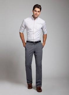 Bildresultat för grey pants white shirt