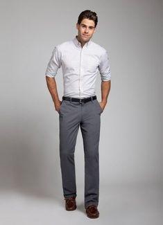 Bildresultat för grey pants white shirt