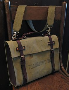 Model A Repurposed Transport Bag - Canvas and Leather Satchel / Briefcase / Laptop Bag. $280.00, via Etsy by W Durable Goods