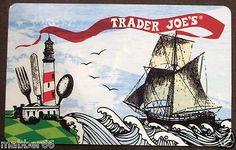 NEW TRADER JOE'S Lighthouse Sailing Ship Collectible Gift Card NO $ VALUE 2012