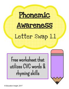 Reading skills worksheet, free worksheet, CVC words, rhyming, rhyme, short vowel words, ending consonantsPhonemic Awareness Letter Swap Worksheet FREEPlease enjoy this free worksheet that supports CVC word recognition, and also utilizes rhyming skills.Students are called to read a CVC word, and swap the ending letter to create a new CVC word that rhymes with another given word.Eye-catching clip-art makes this product fun and engaging for beginning readers!This product is a part of a larger…