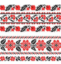 Seamless texture of abstract flat red black flowers Cross Stitch Borders, Cross Stitch Samplers, Cross Stitch Designs, Cross Stitch Embroidery, Hand Embroidery, Palestinian Embroidery, Seamless Textures, Black Flowers, Shoulder Tattoo