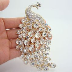 Peacock Brooches Costume Jewelry | Fashion-Party-Jewelry-4-33-H-quality-Peacock-Animals-Brooch-Pins-Clear ...