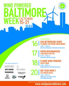 We designed this flier for our client, Clean Currents, to promote their great series of events, Wind Powered Baltimore Week.