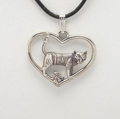 """Sterling Silver Cat Pendant w/ 18"""" Sterling chain by Donna Pizarro fr Animal Whimsey Collection of Fine Cat Jewelry"""