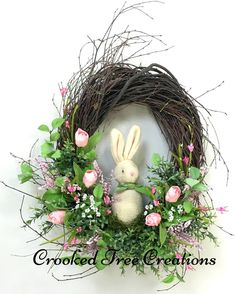 Spring Wreath, Easter Wreath, Bunny Wreath, Tulip Wreath, Spring Floral, Spring Décor, Easter Décor, Bunny, Easter Floral, Pink Tulips by CrookedTreeCreation on Etsy https://www.etsy.com/listing/509002464/spring-wreath-easter-wreath-bunny-wreath