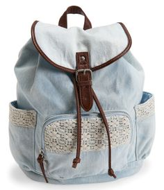 Crochet Denim Backpack -