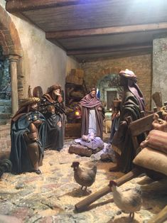 2017-07-07 19.33.39 Church Christmas Decorations, Nativity, Miniatures, Painting, Stables, New Construction, Sacred Art, Nativity Sets, Painted Rocks
