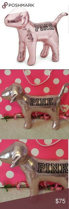 VS PINK Holiday Giant Rose Gold Dog Brand new! Victoria's Secret PINK Holiday Giant Dog Color is a beautiful Rose Gold Victoria's Secret Accessories