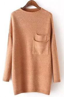 Double Pocket Round Neck Long Sleeve Jumper