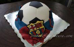 Pastel balón Barcelona cake