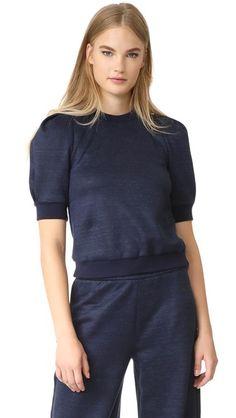 ADAM LIPPES Short Sleeve Puff Sleeve Sweatshirt. #adamlippes #cloth #dress #top #shirt #sweater #skirt #beachwear #activewear