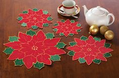 Red Poinsettia Doilies