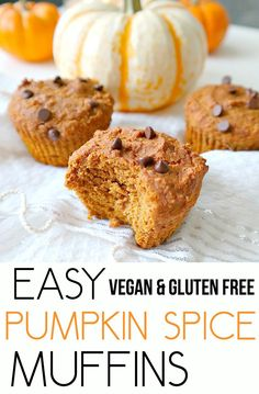 Easy Pumpkin Spice Muffins. Vegan, Gluten Free, Oil Free, Nut Free and Low Fat…