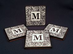 Wood Coasters, Set of Four, Zentangle Monogram, Decoupage and Painted, Cork Back..........Free US Shipping