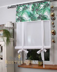 Roletka tubka monstera :: Rustyka.pl Curtains With Blinds, Kitchen Curtains, Wood, Table, Sew, Coffee, Home Decor, Diy Curtains, Houses
