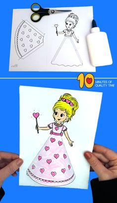 crafts for kids toddlers creative Princess Craft Preschool Valentine Crafts, Diy Valentine, Princess Crafts, Boyfriend Crafts, Bunny Crafts, Easter Crafts, Crafts For Kids To Make, Kids Diy, Toddler Crafts