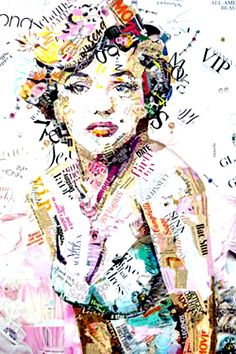"""Saatchi Art is pleased to offer the collage, """"Glam & Glory,"""" by Ines Kouidis. Original Collage: Paper on Canvas. Mode Collage, Art Du Collage, Collage Portrait, Portraits, Dream Collage, Journal D'art, Art Journals, Newspaper Art, Arte Sketchbook"""