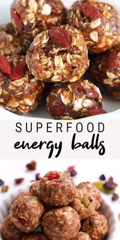 These superfood energy balls take a mere 7 ingredients and only 10 minutes to whip up. Make a batch today and you'll have a portable healthy snack option for the week! Made with healthy ingredients like almond butter, oats, flaxseed and dates. Vegan + gluten-free! #eatingbirdfood #energyballs #energybites #superfood #nobake #healthysnack #oats #flaxseed #almondbutter #vegansnack #gltuenfreesnack Healthy Snack Options, Healthy Snacks, Healthy Protein, Protein Bars, Healthy Baking, Health And Nutrition, Bon Dessert, Energy Bites, Food Videos