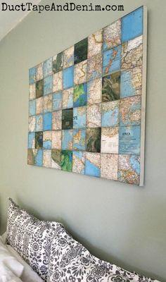 DIY world map art collage canvas | http://DuctTapeAndDenim.com