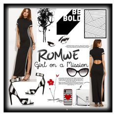 """""""ROMWE Striped High Thigh Slit Dress"""" by mdfletch ❤ liked on Polyvore featuring Rebecca Minkoff, Givenchy, Kate Spade and Prada"""