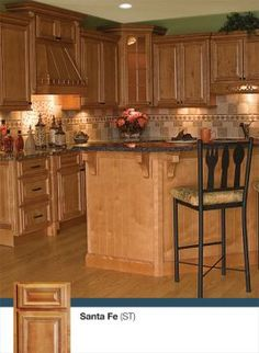 Like this backsplash with the oak.  Santa Fe Kitchen & Bathroom Cabinet Gallery - Santa Fe Gallery