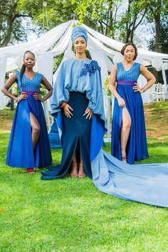 Stylish South African Shweshwe Dress Designs - Loud In Naija South African Dresses, South African Wedding Dress, African Dresses For Women, African Attire, African Wear, African Fashion Dresses, Setswana Traditional Dresses, Traditional Wedding Attire, African Traditional Wedding