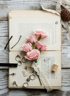 Roses on a Book Book wallpaper Book flowers Book aesthetic