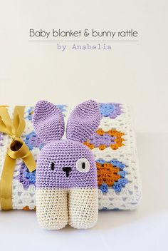 Crochet baby blanket and bunny rattle