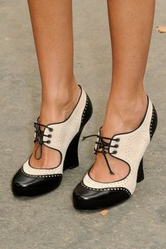 Oxford heels - Love these  Always wanted the Black and White Tap shoes kinda like this...