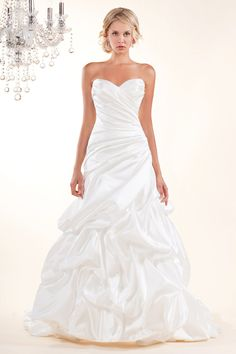 Classic Ivory White $$$ - $1501 to $3000 A-line Fit-n-Flare Floor Pick Ups Ruching Satin Silk Sleeveless Strapless Sweetheart Winnie Couture Wedding Dresses Photos & Pictures - WeddingWire.com