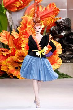 """""""Alice Through The Looking Glass"""" flower dresses by John Galliano for Christian Dior Couture Fall 2010 - Maryna Linchuk"""