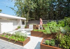 Kleine tuin met kruidenbakken in Cortenstaal.