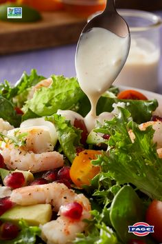 A lighter twist on a creamy favorite: swap in FAGE Total Greek yogurt for a simple, homemade salad dressing. It's the perfect finishing touch to complete a satisfying dish full of rich, citrusy flavor. Shrimp Avocado Salad, Caprese Salad, Salad Recipes, Healthy Recipes, Yummy Recipes, Healthy Nutrition, Healthy Food, Spring Salad, Stuffed Peppers