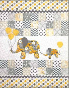 New Quilt Patterns - Make this sweet baby quilt with lots of scrappy patchwork. Baby elephants trailing their mother create a charming scene in this baby quilt. Finished size: x Quilting Projects, Quilting Designs, Embroidery Designs, Baby Boy Quilts, Girls Quilts, Quilts For Babies, Baby Quilts Easy, Quilted Baby Blanket, Elephant Quilts Pattern