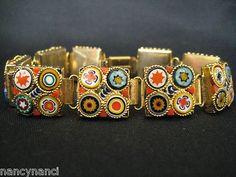 Vintage Italian Micro Mosaic 9 Link Bracelet