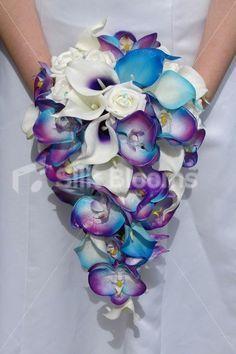 Galaxy Blue Orchid Lily Rose Artificial Cascade Tropical Bridal Wedding Bouquet