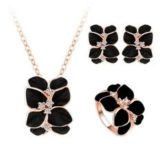 A Perfect Gift for Your Lady Love -- Aaishwarya Black Enamel Floral Pendant Set & Ring Combo @ Rs. 899/- only #pendantset #floralpendantset #pendantandringset #fashionjewellery