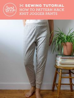 Sewing Tutorial - How to pattern hack the Summer Sweatsuit shorts pattern to create knit jogger pants by Sew DIY Pants Pattern, Top Pattern, Jogger Pants, Joggers, Long Underwear, Knit Shorts, Pattern Drafting, How To Make Notes, Sewing Clothes