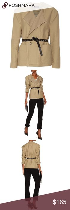 Isabel Marant Kelby Belted Jacket NWT! I bought this on final sale from Outnet, brand new with tags. It is too big for me, selling it for what I bought it for. Enjoy! Size FR 40 Mid-weight cotton-twill Open front, detachable black leather belt, front patch pockets, gunmetal grommet, raw edges Slips on 100% cotton; belt: 100% leather (Calf) Dry clean Designer Color: Golden Beige Imported Fits true to size, take your normal size Cut for a loose fit, use the belt to pull it in at the waist…