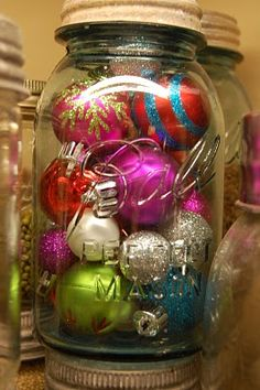 Ornaments in a Mason Jar