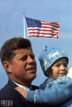 On November 8, 1960, John F. Kennedy won the presidential election against Republican Vice President Richard Nixon he was the youngest man ever to be elected president of the United States. Pictured: John F. Kennedy holds 4-year-old Caroline on Election Day. Caroline Kennedy was his first, and is his only surviving, child. (see more JFK: The Run for the White House)