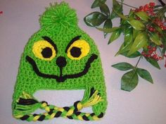 The Grinch Earflap Hat  Baby Crochet Newborn by WarmFuzzyBoutique, $23.99