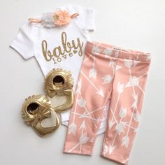Bringing home baby outfit, peach and gold 3 piece set, take home outfit Paisley Prints original