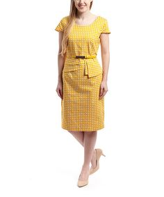 Love this Yellow Lattice Sheath Dress by Appraisal on #zulily! #zulilyfinds