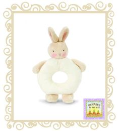 $12.95 - Bunnies by the bay ring rattle. Adorable in soft white are sweet little bunny rattles that baby will shake with glee! 15cm. Birth +.